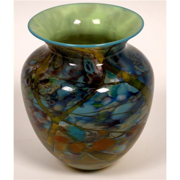 Art Glass Vase Signed by Artist Baines  [136725]