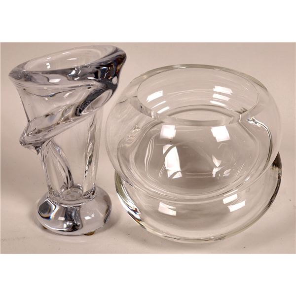 Crystal Clear Art Glass Vases (2 Pieces) both Signed   [136726]