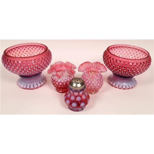 Victorian Art Glass Group, Cranberry Hobnail  (5 Pieces)  [136728]