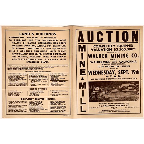 Auction Sale Notices for Mining Equipment & Buildings at Abandoned California Mine Sites (2)  [13760