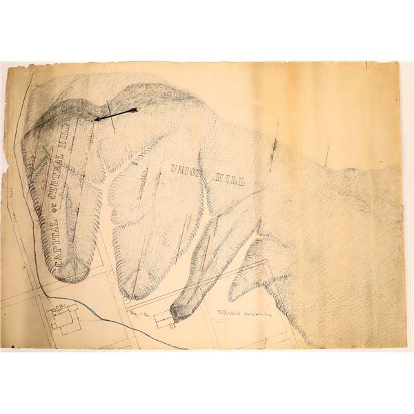 1865 Austin, Reese River Mining District, Nevada, Hand Drawn Map  [136356]