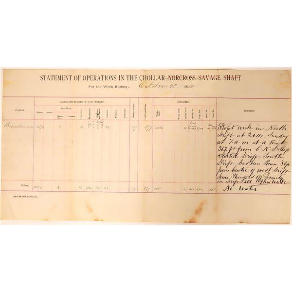 Chollar-Norcross-Savage Shaft Report of Operations  [135731]