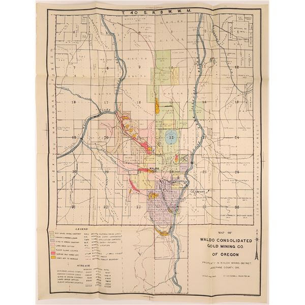 Waldo Consolidated Gold Mining Co. of Oregon Township Map  [137613]