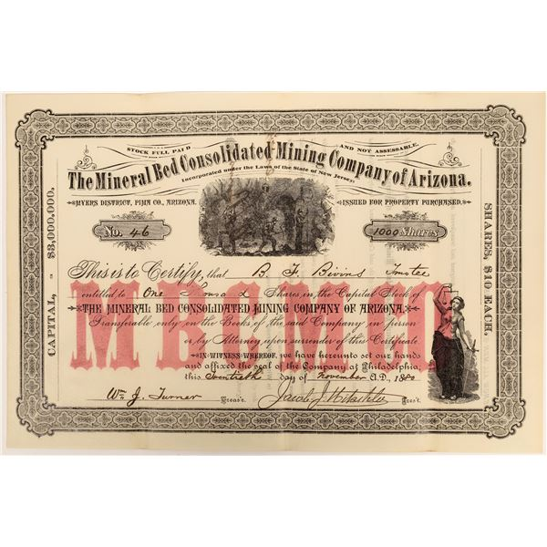Mineral Bed Consolidated Mining Company of Arizona Stock  [135805]
