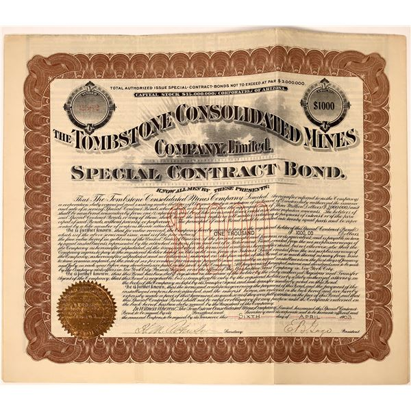 Tombstone Consolidated Mines Company Gold Bond  [137358]