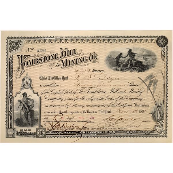 Tombstone Mill and Mining Co. Stock, Yellow  [135798]