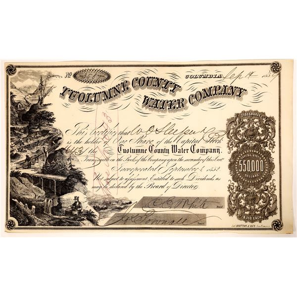 Tuolumne County Water Company  Stock Certificate Issued to Columbia Banker W. O. Sleeper  [136856]