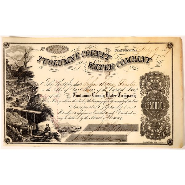 Tuolumne County Water Company  Stock Certificate Issued to S.F. Banker John Sime  [136855]