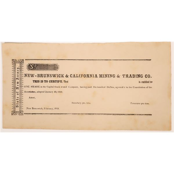 New Brunswick & California Mining & Trading Co. Stock, 1849  [135809]