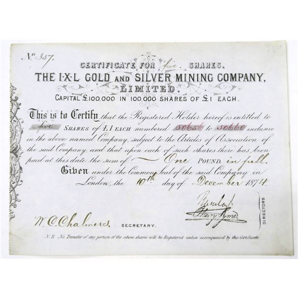 IXL Gold and Silver Mining Company Stock Certificate  [135917]