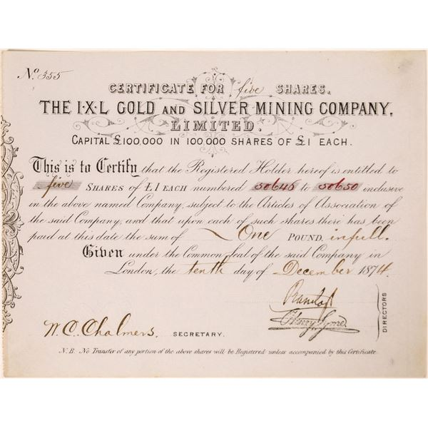 IXL Gold and Silver Mining Company Stock Certificate  [132639]