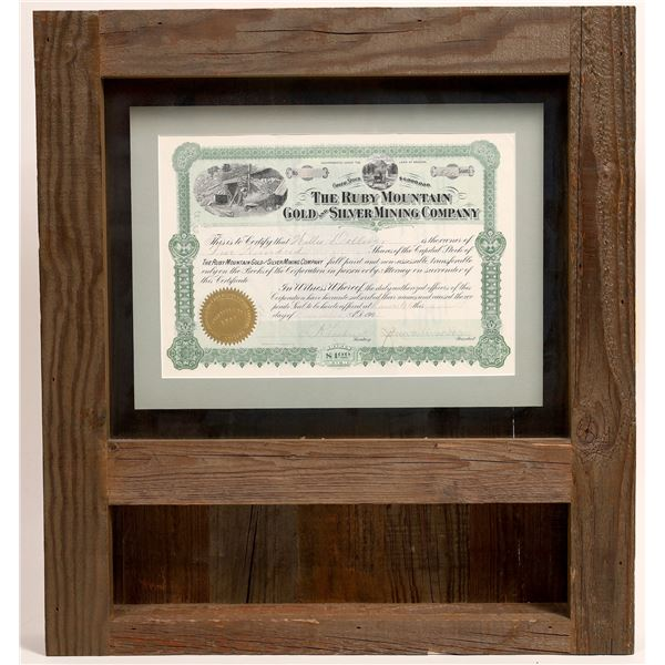 The Ruby Mountain Gold & Silver Mining Co. Stock and shadowbox  [133794]