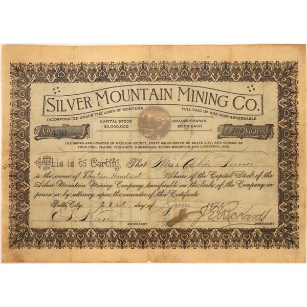 Silver Mtn Mining Co Stock, signed by Montana Lt. Gov. J.E. Rickards  [113860]