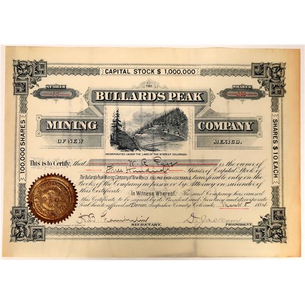 Bullard's Peak Mining Company of New Mexico Stock Certificate  [135877]
