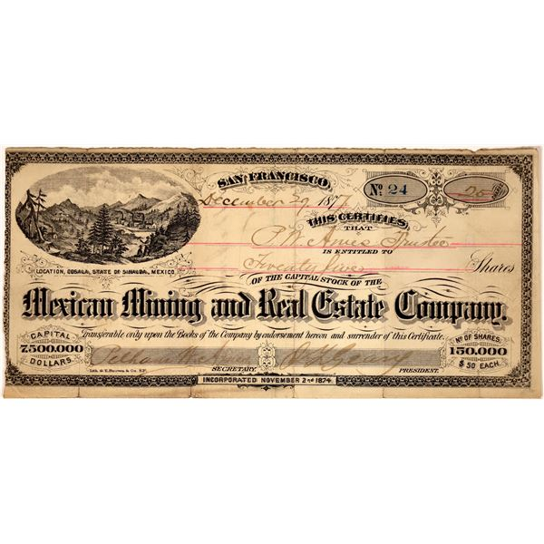 Mexican Mining & Real Estate Co. Stock Certificate (GT Brown)  [135189]