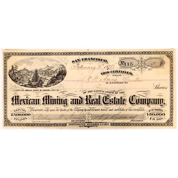 Stock Certificate for the Mexican Mining and Real Estate Co. with J. Geary Autograph  [135027]