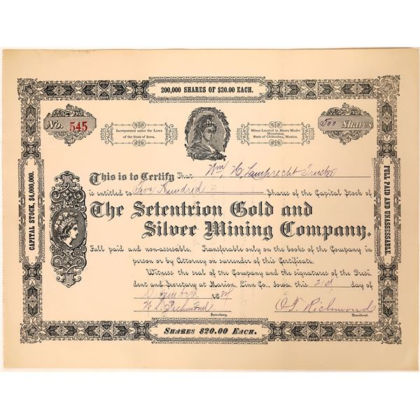 Setentrion Gold & Silver Mining Co. Stock Certificate (Sierra Madre)  [135195]