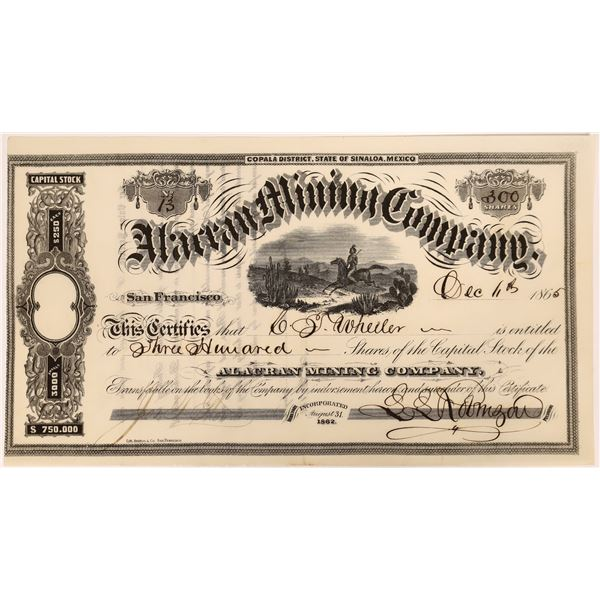 Stock Certificate for the Alacran Mining Company  [131555]
