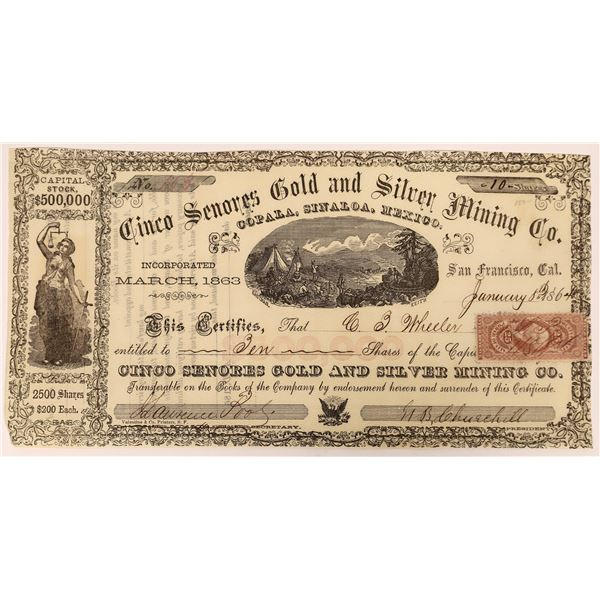 Stock Certificate for the Cinco Senores Gold and Silver Mining Co.  [131556]