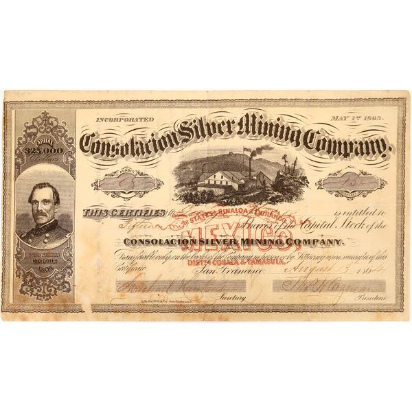 Stock Certificate for the Consolacion Silver Mining Co. in Sinaloa, Mexico  [131561]