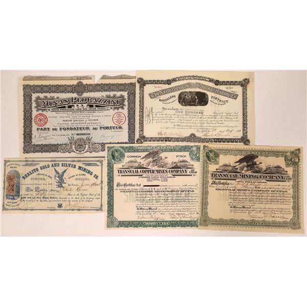 Sonora Mines Stock Certificate & Bonds Group  [135191]