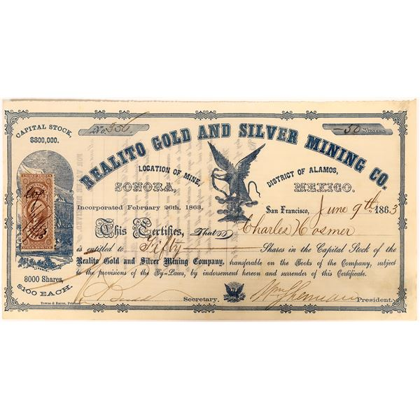Stock Certificate for the Realto Gold and Silver Minging Co. signed by W. T. Sherman  [135028]