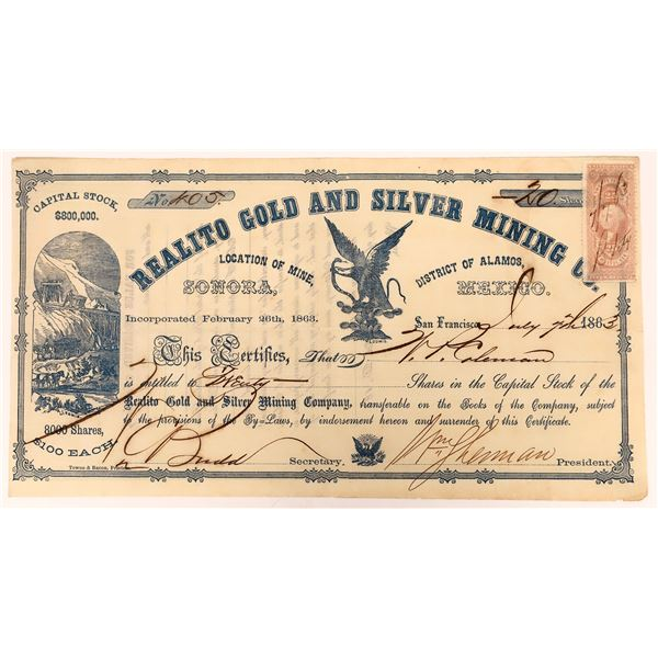 Stock Certificate for the Realto Gold and Silver Mining Co. signed by W. T. Sherman  [131560]