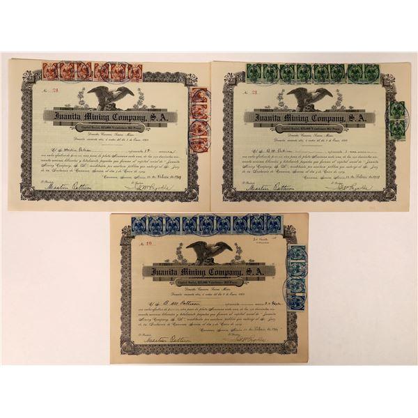 Juanita Mining Stock Certificates with Revenue Stamps  [132670]