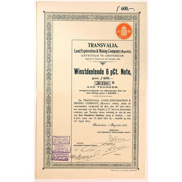 Transvalia Land Exploration & Mining Stock Certificate  [135072]