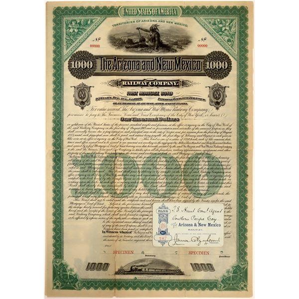 Arizona and New Mexico Railway Mortgage Bond and Railroad Pass  [137572]