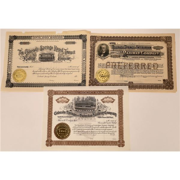 Colorado Light Rail Stock Certificates (3)  [137019]