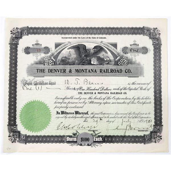 Denver & Montana Railroad Co. Stock Certificate  [137005]