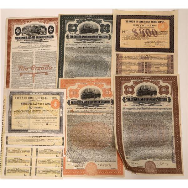 Denver & Rio Grande RR Stock Certificates (6)  [137015]