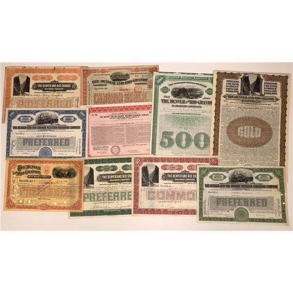 Collection of Denver and Rio Grande Stock & Bonds (10)  [137016]