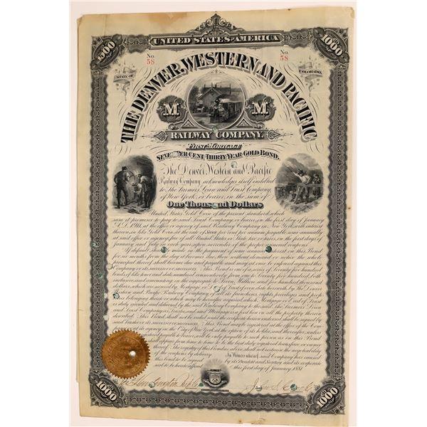 Denver, Western & Pacific Railway Bond Certificate  [137032]