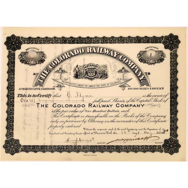 Obscure Colorado Railroad Stock Cert  [136897]