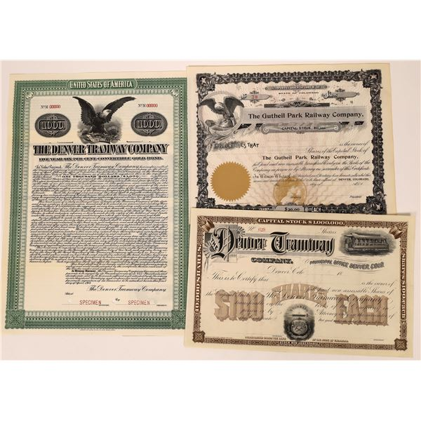 Colorado Tramway Company Stock Certificates (3)  [137033]