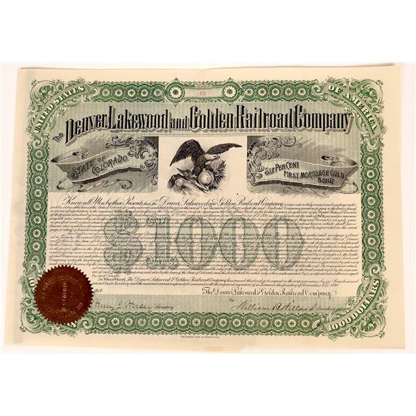 Denver, Lakewood & Golden RR Company Bond  [137006]