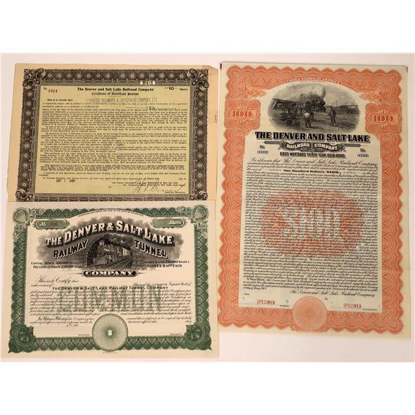 Denver and Salt Lake Railroad Stocks & Bond  [137014]