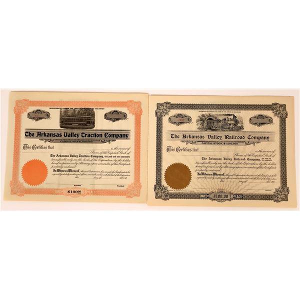 A Pair of Arkansas Valley Rail Stock Certificates  [136895]