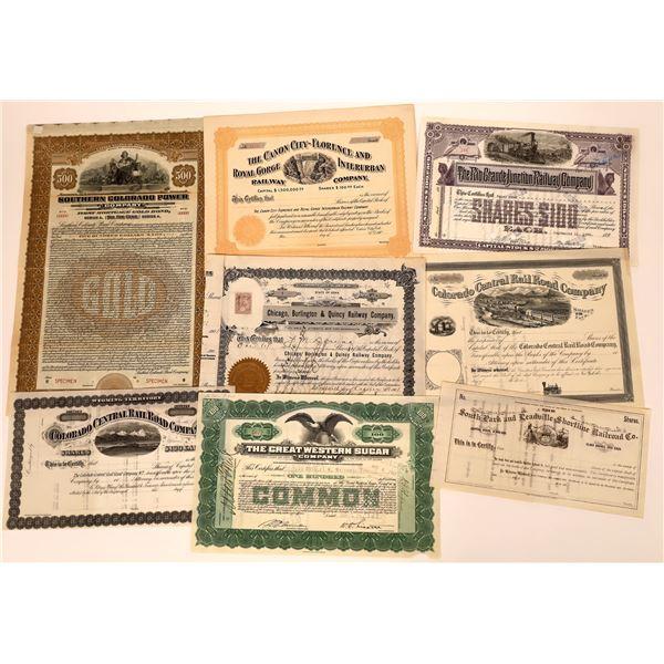 Colorado Railroad Stock & Bond Certificates   (7)  [136899]