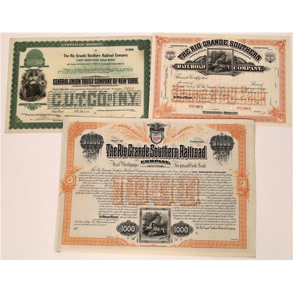 Rio Grande Southern RR Bonds (3)  [137024]