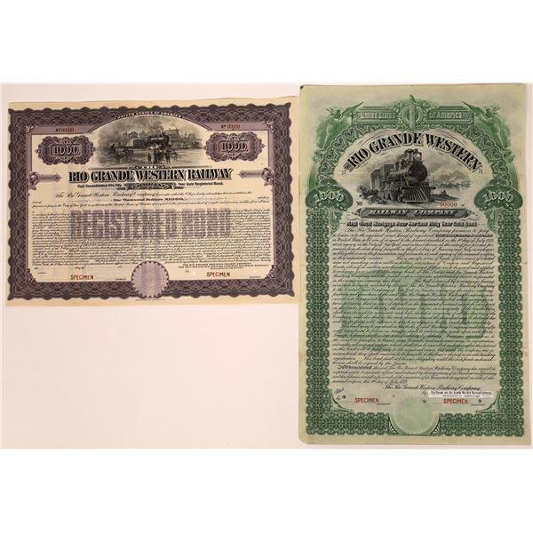 Rio Grande Western Railway Company Bond Specimens  [137025]