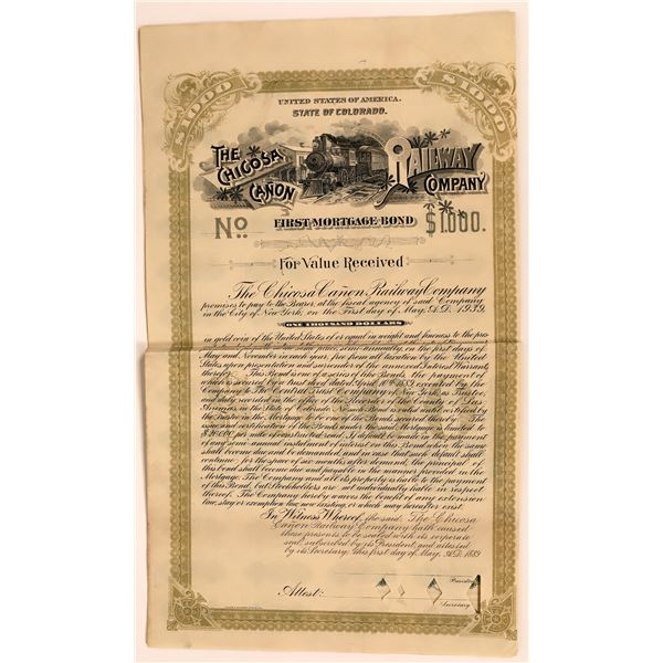 The Chicosa Canon Railway Company Bond  [137000]