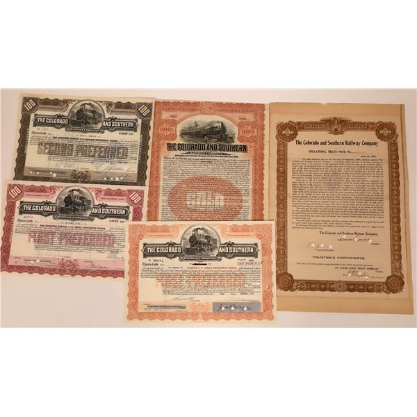 The Colorado & Southern Railway Stocks & Bonds (5)  [137011]
