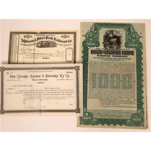 Two Unissued Colorado Railroad Stocks & One Bond  [137029]