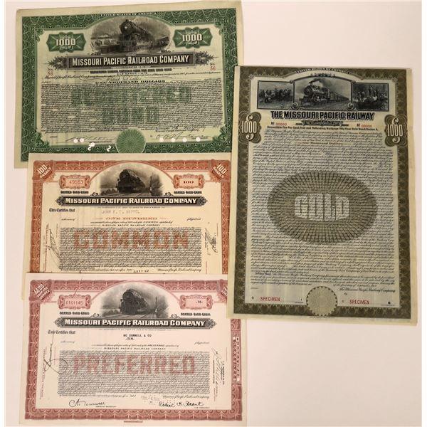 Missouri Pacific Railway Stock Certificates (4)  [137027]