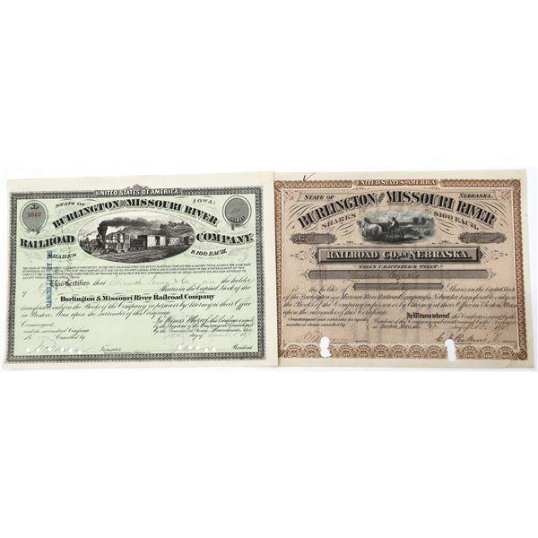 Burlington and Missouris River RR Stock Certs (2)  [137003]