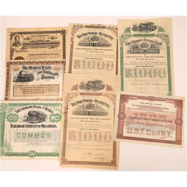 Texas Railroad Stock & Bond Certificates (7)  [137018]