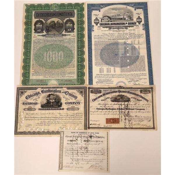 Chicago, Burlington & Quincy RR Stock & Bond Certs (5)  [137002]